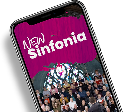 iphone showing NEW Sinfonia logo and choir