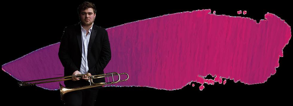 Merin rhyd holdign a trumpet standing against a paint streak