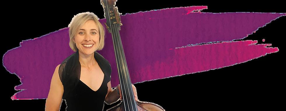Laura Murphy a cello player against a paint streak