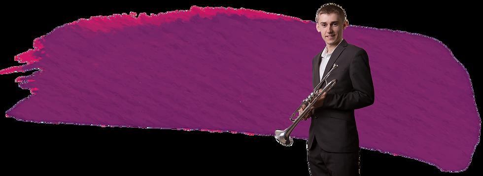 Gwyn Owen holding a cornet standing against a paint streak