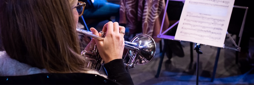 woman playing cornet in a orchestra