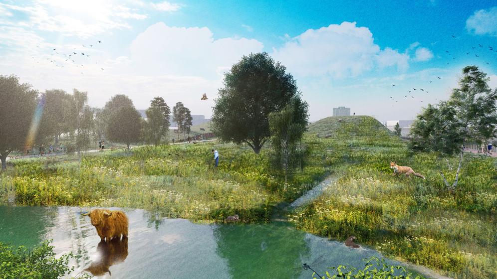 Bioswale linkage to Water HAHA Garden / Rainwater harvesting