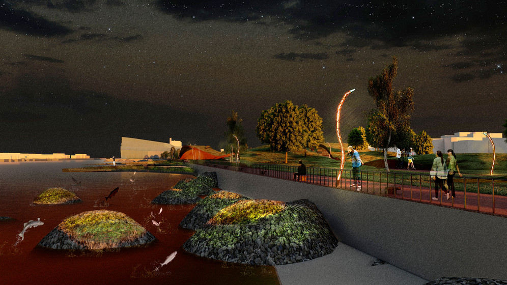 Ecological fish nursery area at night /  River Clyde waterfront / Time-proof space