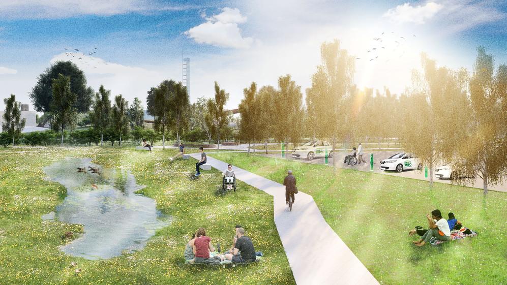 Wet Meadow Road Buffer Garden / SuDS retention pond / Inclusive access