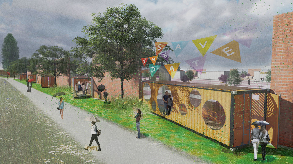 Concept Garden / Sub-entrances with container pergola