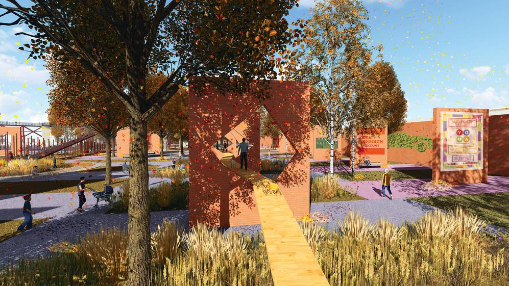 Column Garden / Recycled red brick art sculpture wall