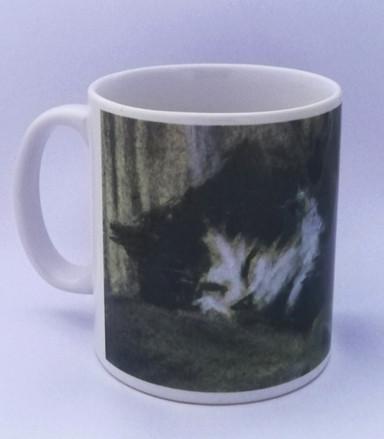 'Darcy' black and white sleeping cat mug