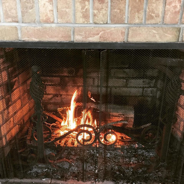 2 wood burning fireplaces inside and a firepit outside