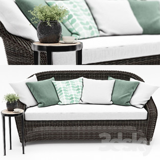 Wicker Roll-Arm Sofa