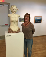 Lisa with her piece, Fawn Girl