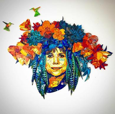 """To celebrate Patssi Valdez - """"California Poppy"""", 2020 , 41""""x51.5""""x2"""", used skateboard inlay"""