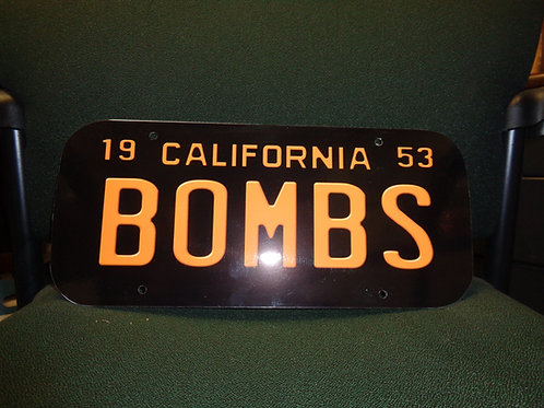 1953 BOMBS LICENSE PLATE PLAQUE