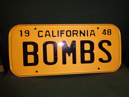 1948 BOMBS LICENSE PLATE  PLAQUE
