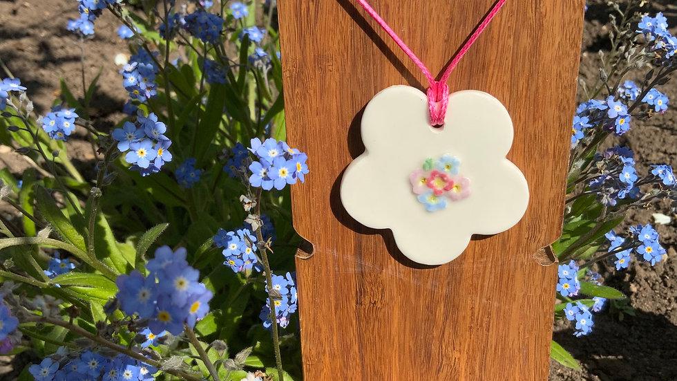 Porcelain forget-me-not pendant necklace