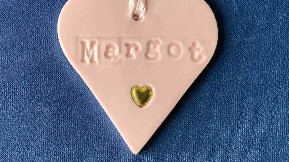 Personalised porcelain heart keepsake with gold detail