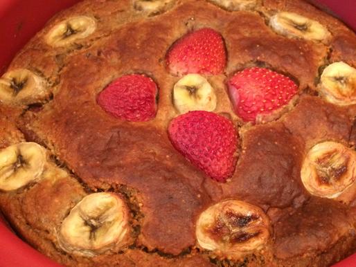 Very Low sugar Strawberry and Banana Cake