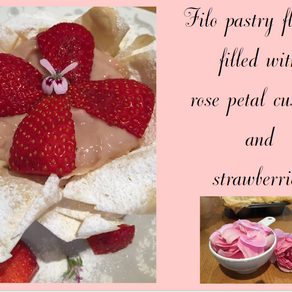Filo Pastry Flower filled with Rose Petal Custard and Strawberries