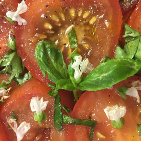 Tomato and Basil Salad with Basil Flowers