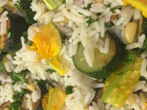 Courgette and Pine Nut Rice with courgette flowers