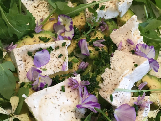 Avocado, Rocket and Goat Cheese with Viola and Rocket Flowers