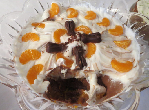 Chocolate and Mandarin Trifle (Low fat and sugar)