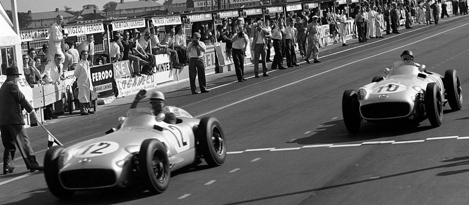 #47 GP di Gran Bretagna 1955, finalmente Moss, Fangio è secondo, è dominio Mercedes
