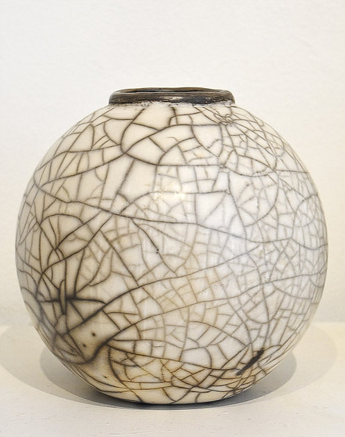 Large Spherical Raku Pot