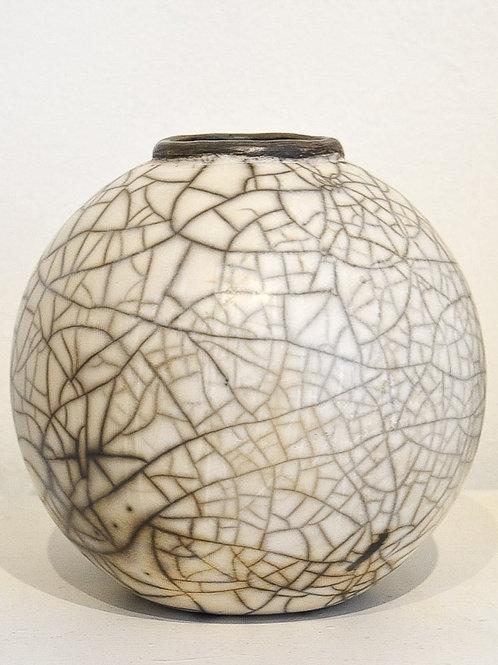 Large Spherical Raku Pot