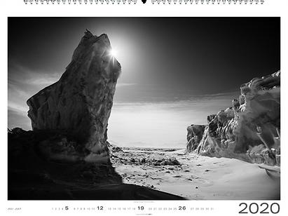 Kalendergestaltung, Wilde Arktis 2020 Kalender, Ice is black, Laurent Baheux, Weingarten, Werbeagentur r2 Mediendesign, Verden