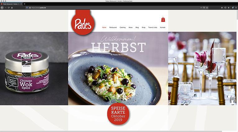 Webdesign Pades Restaurant, Werbeagentur r2 Mediendesign, Verden