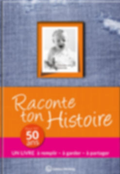 Buchgestaltung, Raconte ton Hostoire, Pour tes 50 ans, Un livre a remplir – a garder – a partager, Éditions Wartberg, Werbeagentur r2 Ravenstein, Verden