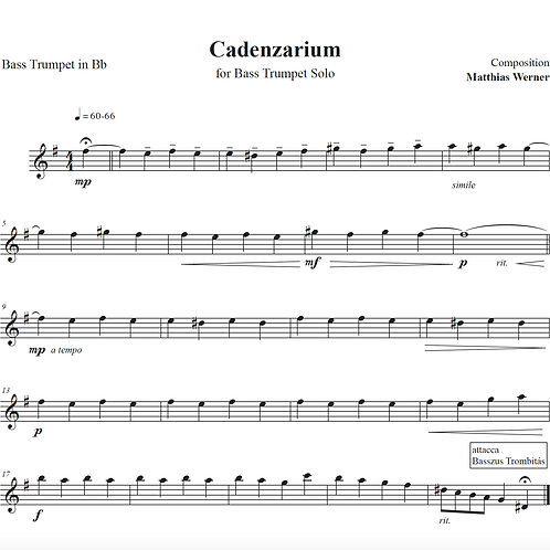 """Cadenzarium"" Download Quartett Noten"