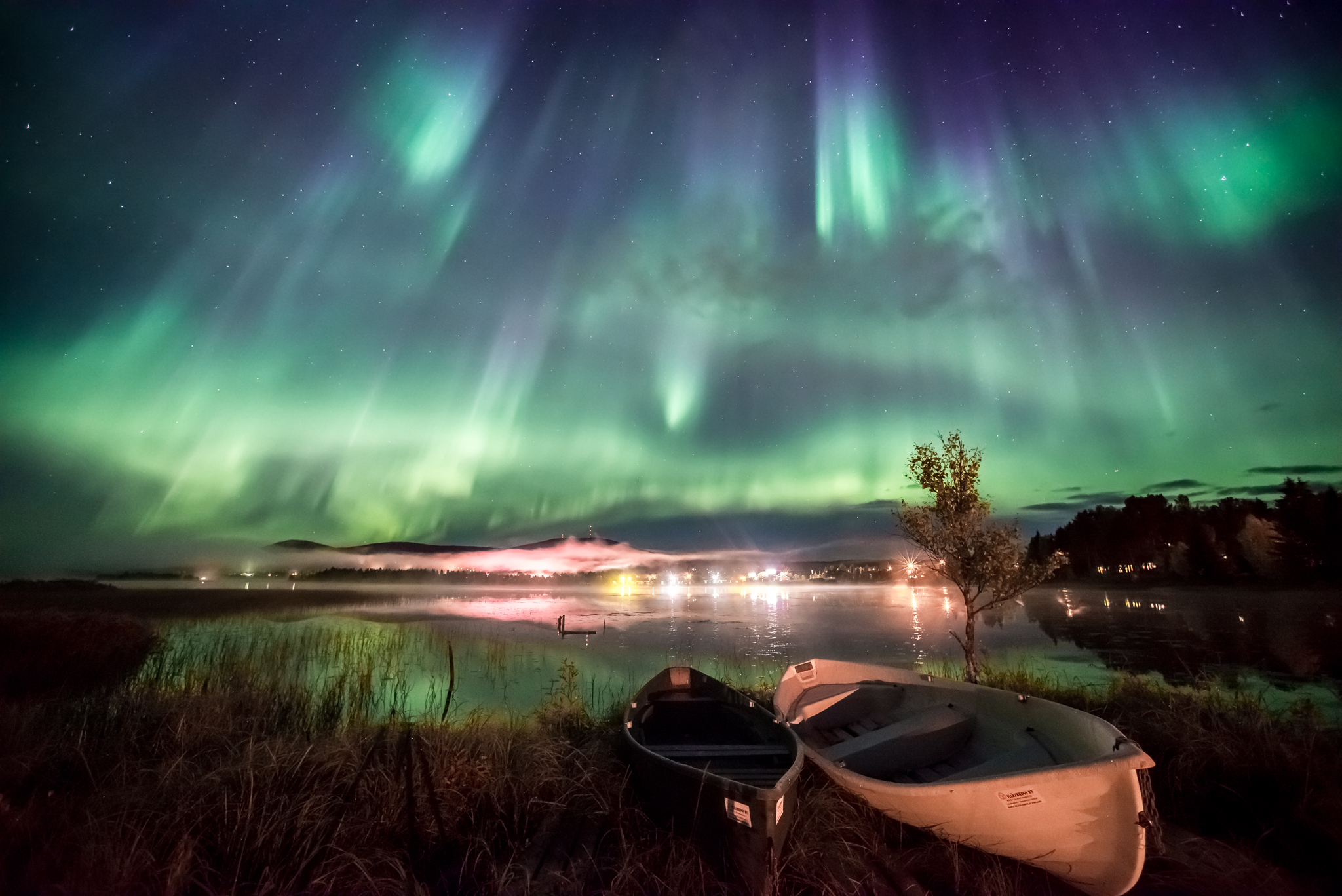 Aurora Borealis with Canoes