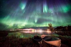 Aurora Borealis with Canoes