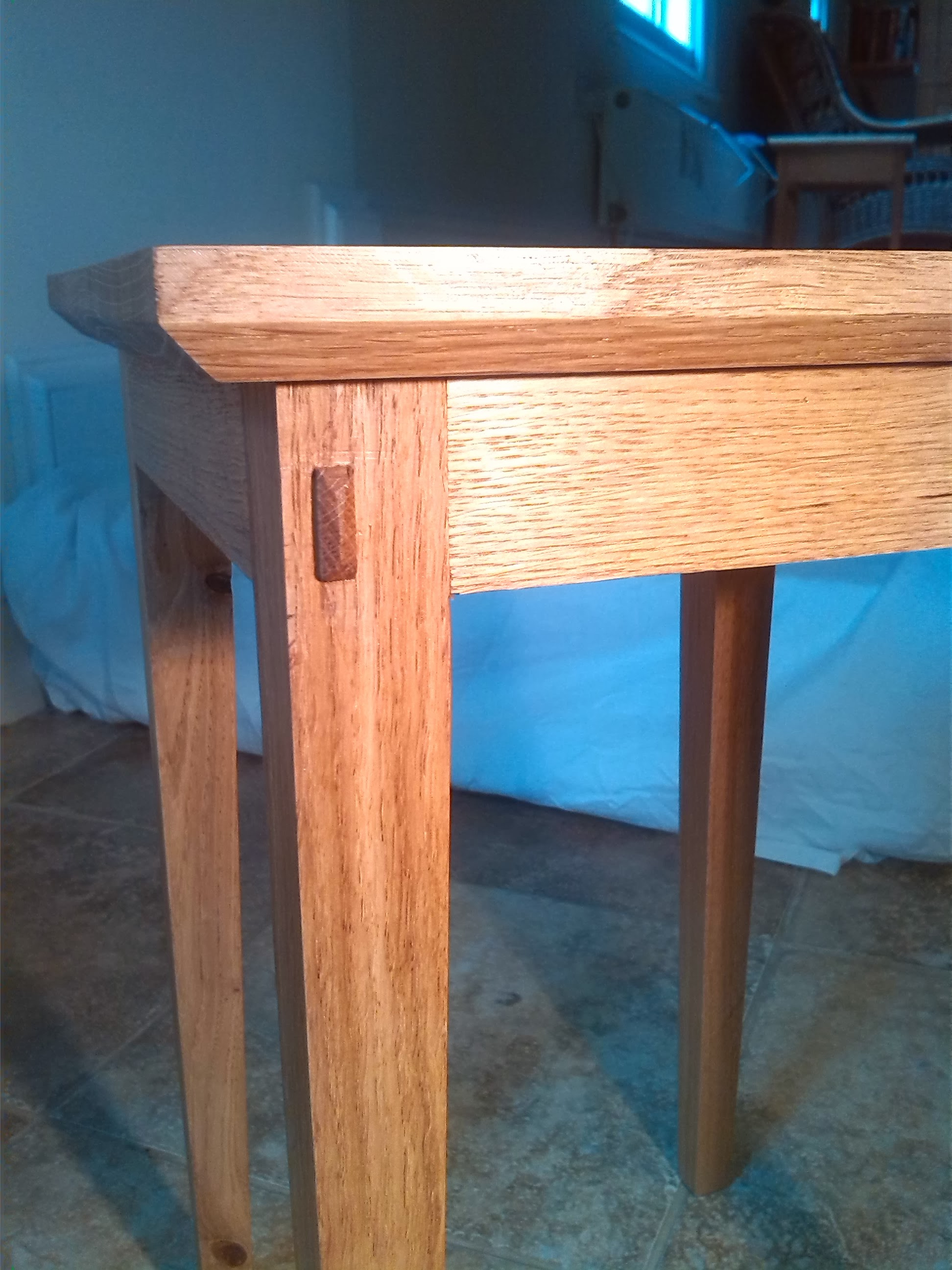 Through-tennon detail on oak table