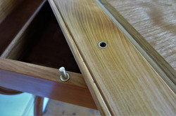 Games Table detail, brass hardware and solid cherry wood