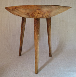 Oak Burr side table 2 with hand turned oak legs