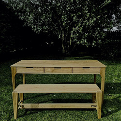 Oak Writing Desk and Bench