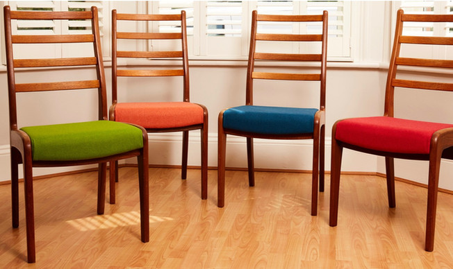multi coloured G Plan drop in dining chair set