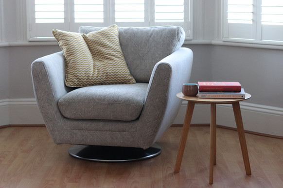 swivel chair recover in 'Feather Grey'
