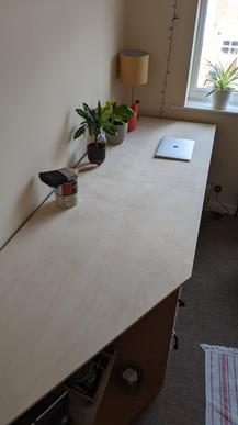 Birch ply desk top on bespoke desk unit