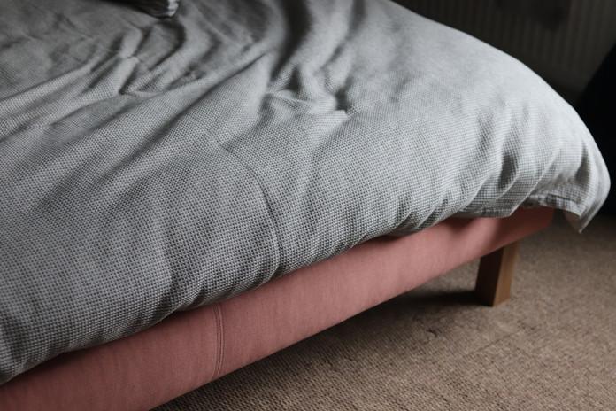 Bed frame upholstered in 'Sorbet'