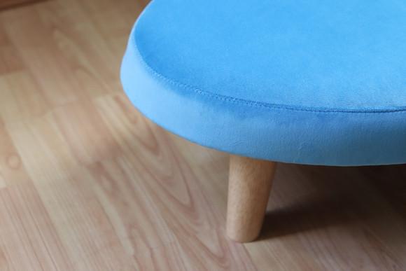 Bespoke mini footstool in sky velvet