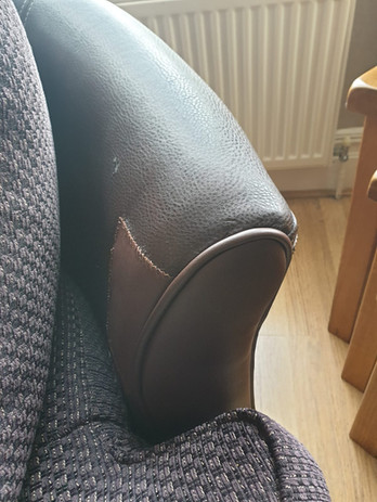 After of 'botch patch' repair on facia + arm