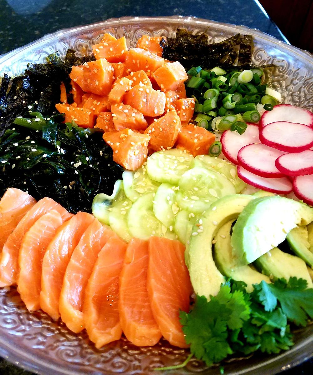 Salmon Sashimi Bowl (Gluten-Free, No soy or dairy)