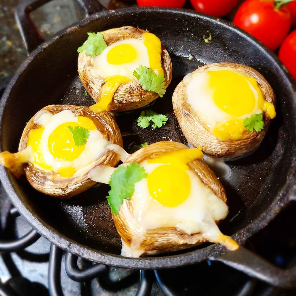 Easy, Cheesy Quail Egg Stuffed Mushroom Appetizers (Gluten-free, Soy-free, Grain-free)