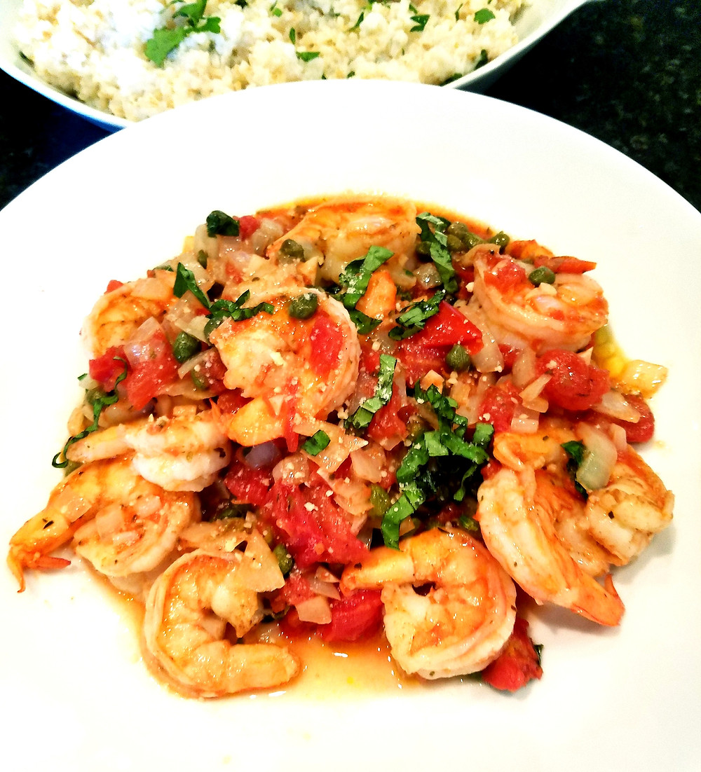 Shrimp with tomatoes, capers, and basil (Gluten-free, soy-free, grain-free, dairy-free)