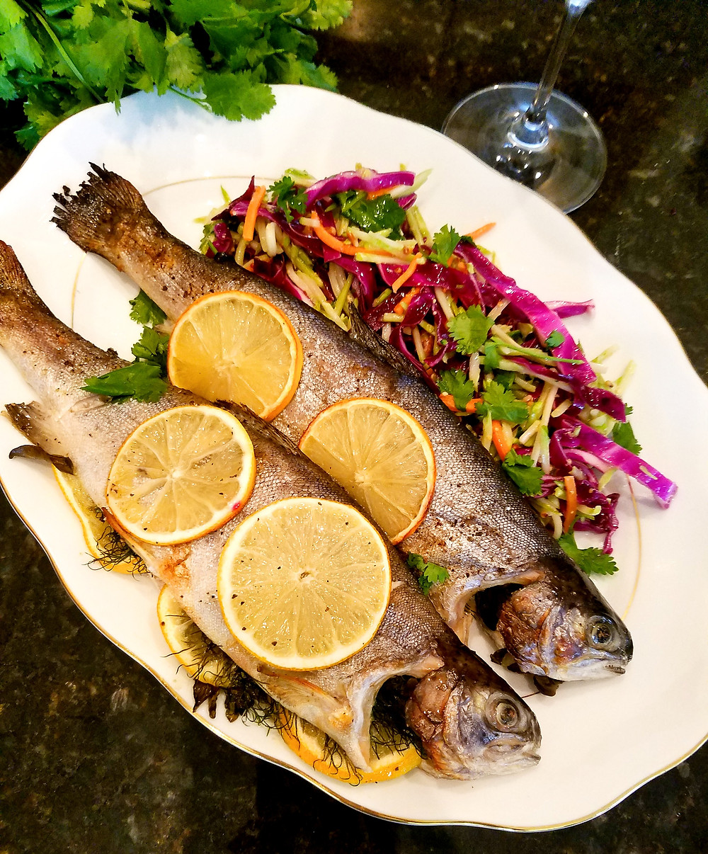 Broiled Rainbow Trout (Gluten-free, No soy/dairy/grains)