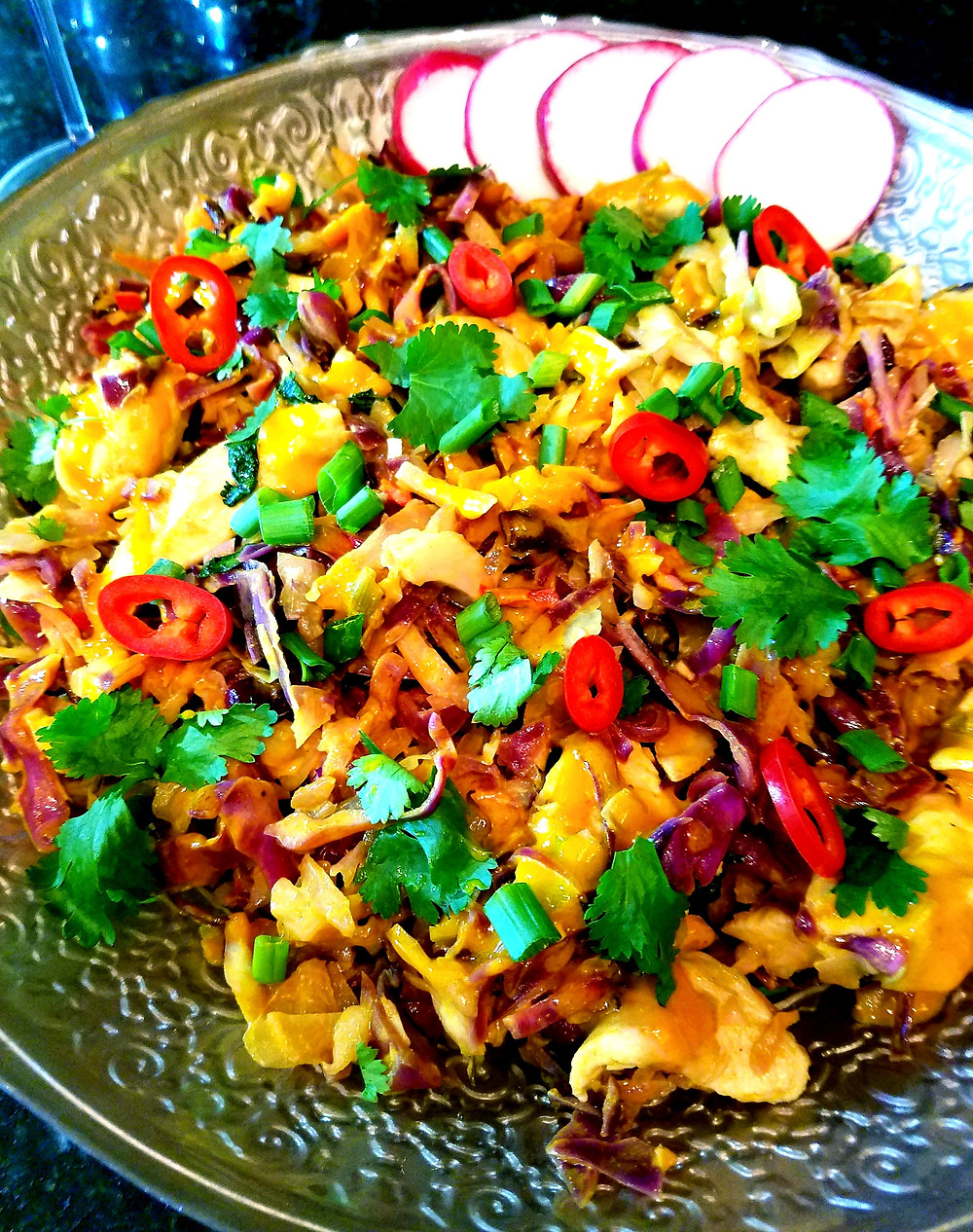 Warm Turmeric Tahini Chicken Salad (Gluten-free, no soy/grains/dairy)