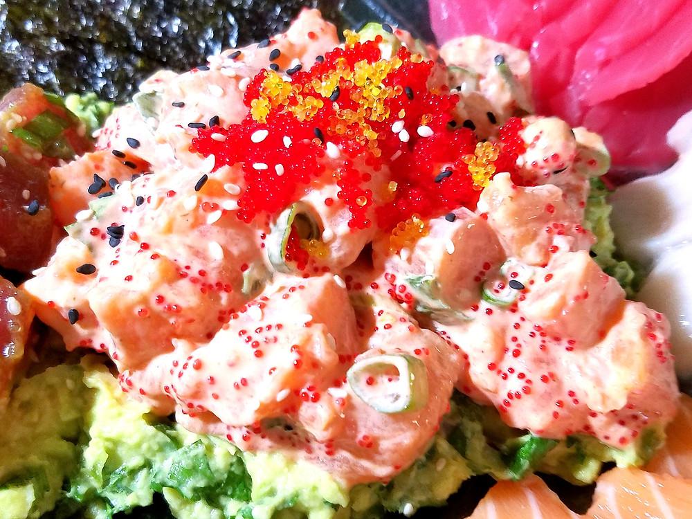 Spicy Salmon Sashimi Salad (Gluten-free, soy-free, dairy-free, grain-free)